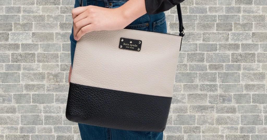 Woman wearing a Kate Spade Cora Crossbody Bag