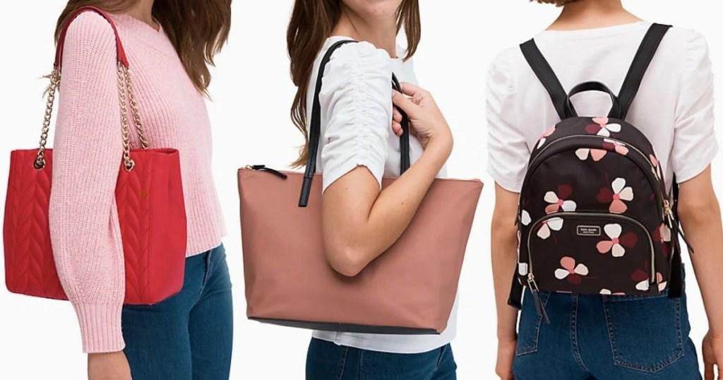 Three styles of Kate Spade handbags