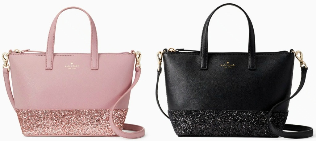 Two styles of Kate Spade satchel bags with glitter on the bottom