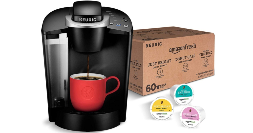 Keurig K-Classic Coffee Maker with AmazonFresh 60-count Coffee Variety Pack