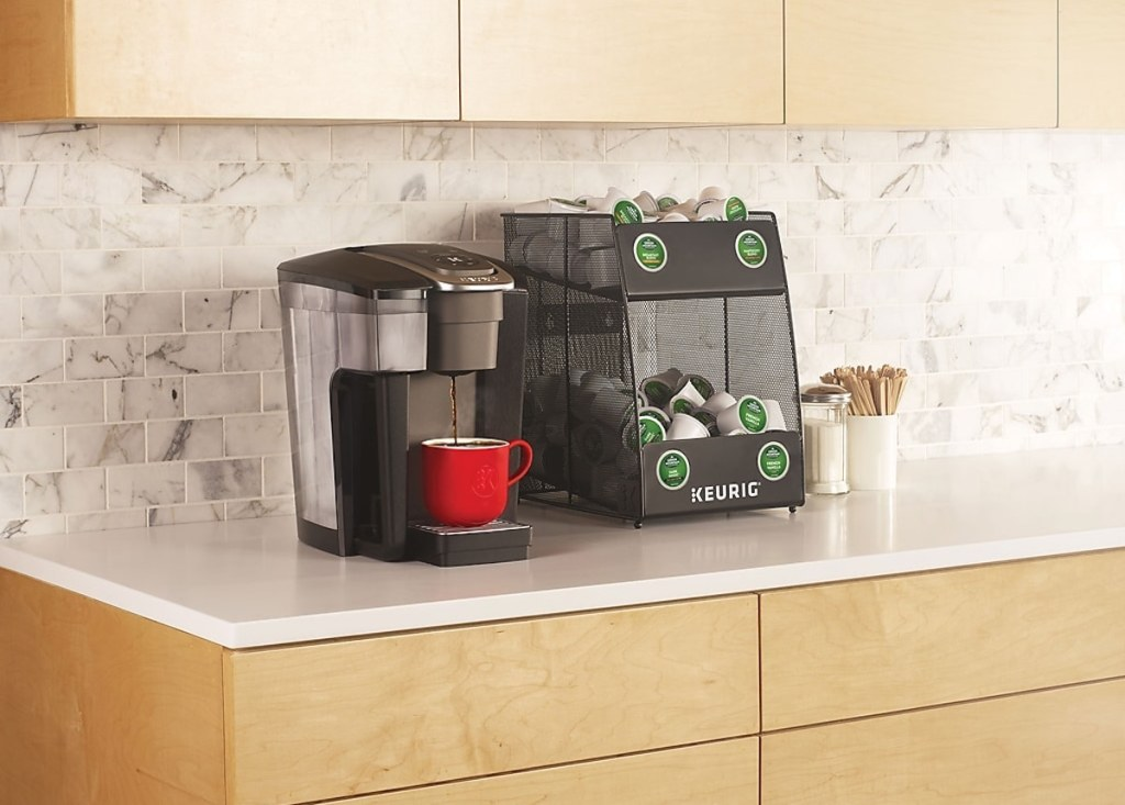 black and silver keurig commercial K1500 sitting on kitchen counter
