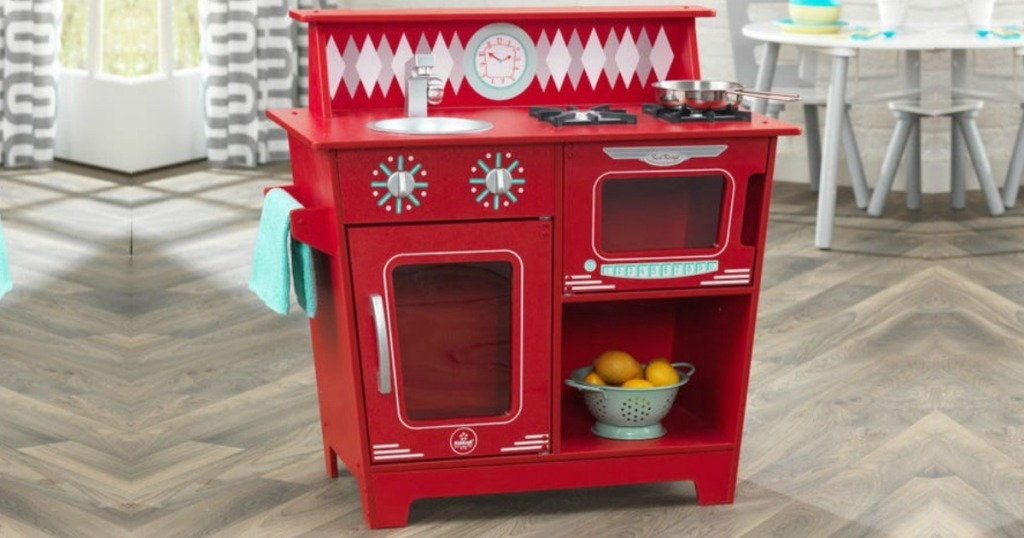 KidKraft Red Classic Kitchenette in playroom