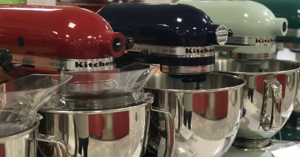 Store display of different colored KitchenAid Artisan Mixers