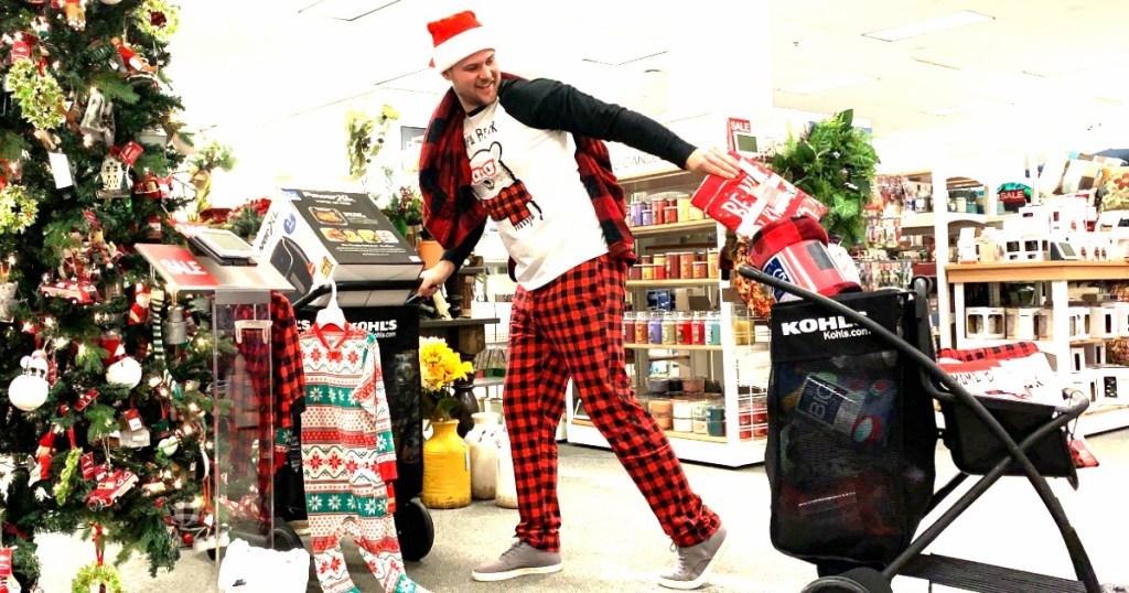 man in holiday pajamas at Kohl's for Black Friday