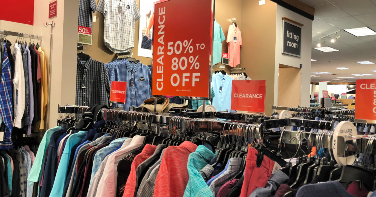 Kohl's Clearance Sign above racks of clothing