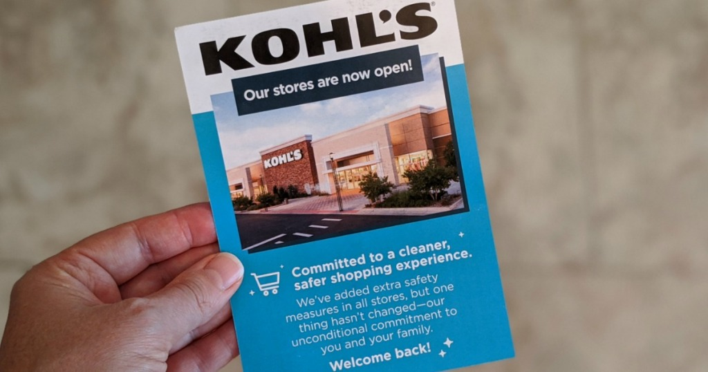 hand holding a Kohl's postcard