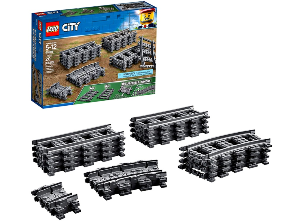 LEGO City Tracks Building Kit with box and contents