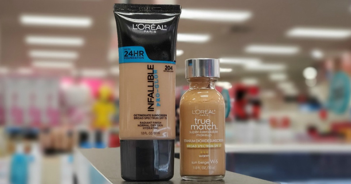 L'Oreal Paris makeup foundation in two styles on counter top in-store