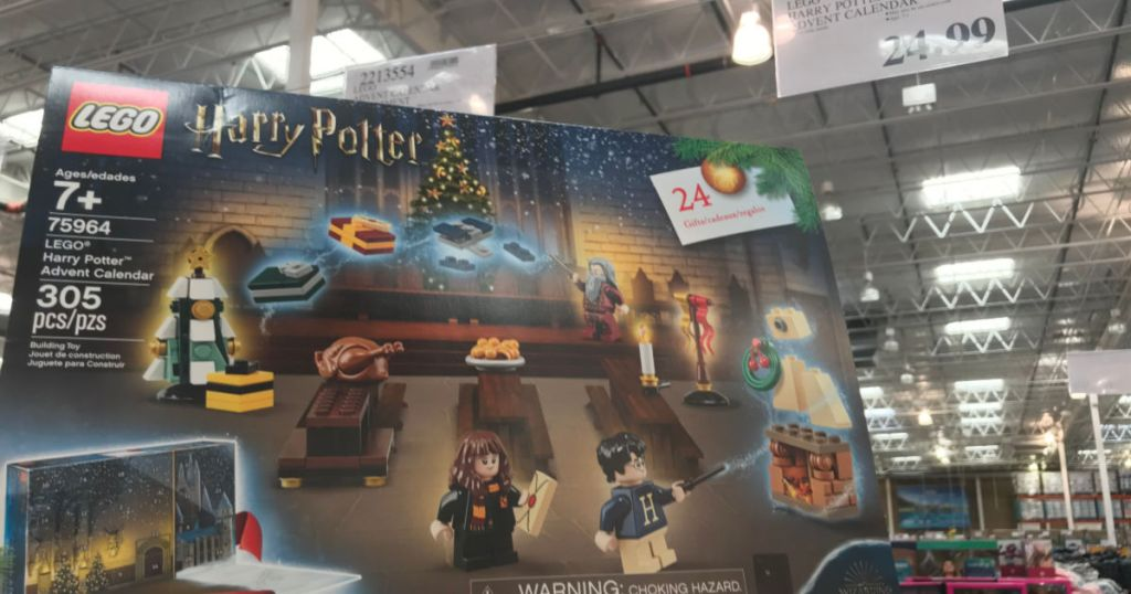 Lego Harry Potter Advent Calendar at Costco with price sign in the background