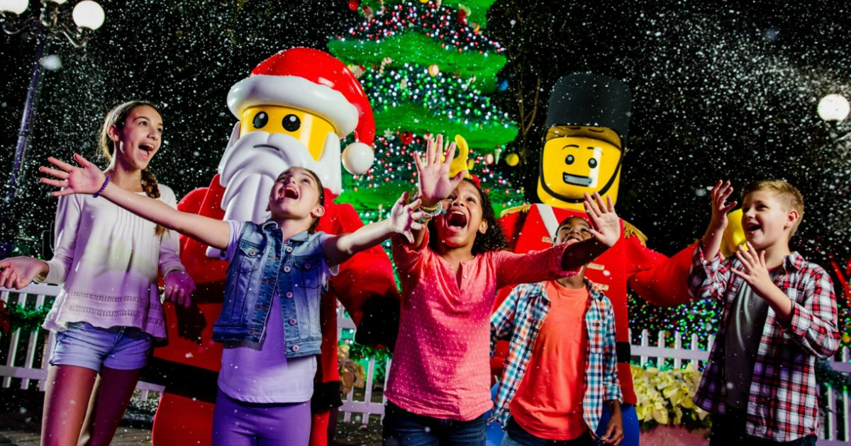 Kids at LegoLand during christmas time