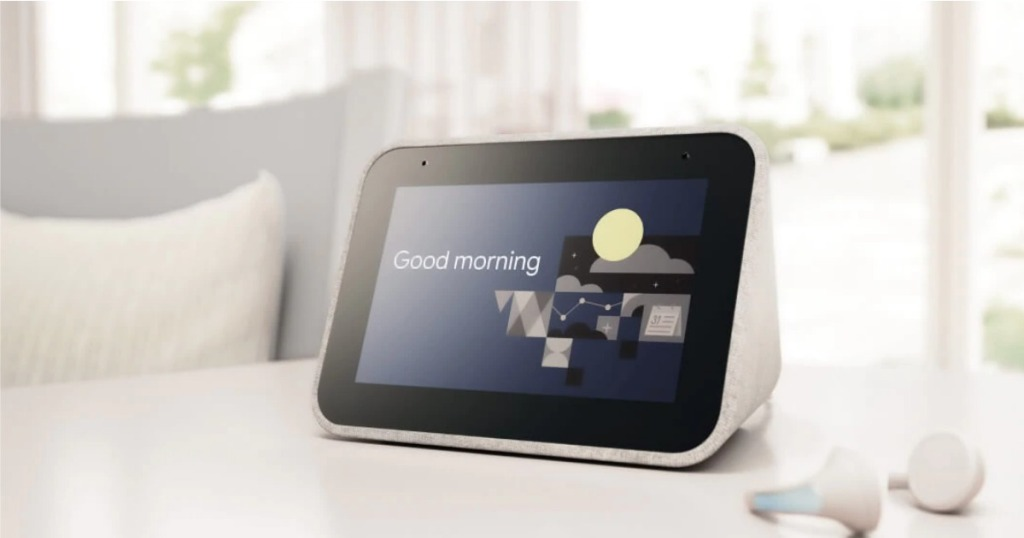 Lenovo Smart Clock on night stand