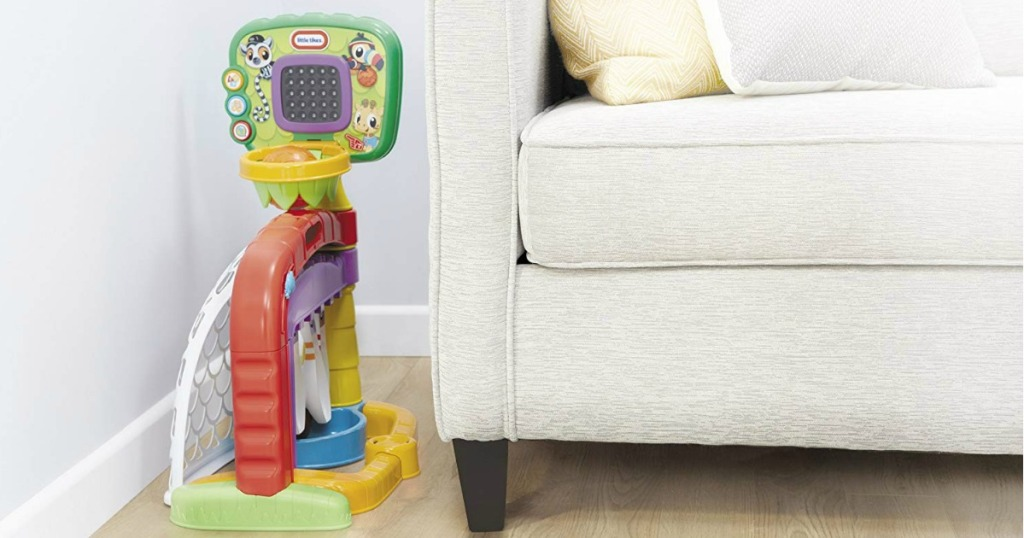Little Tikes 3-in-1 Sports Zone next to couch