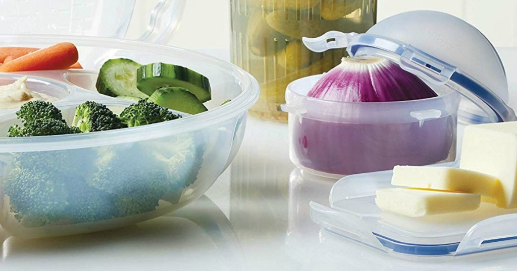 clear storage containers filled with food