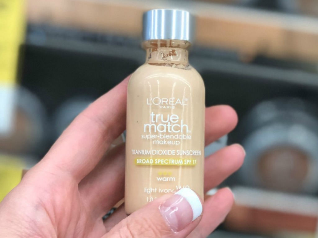 LOreal True Match Foundation in hand in-store