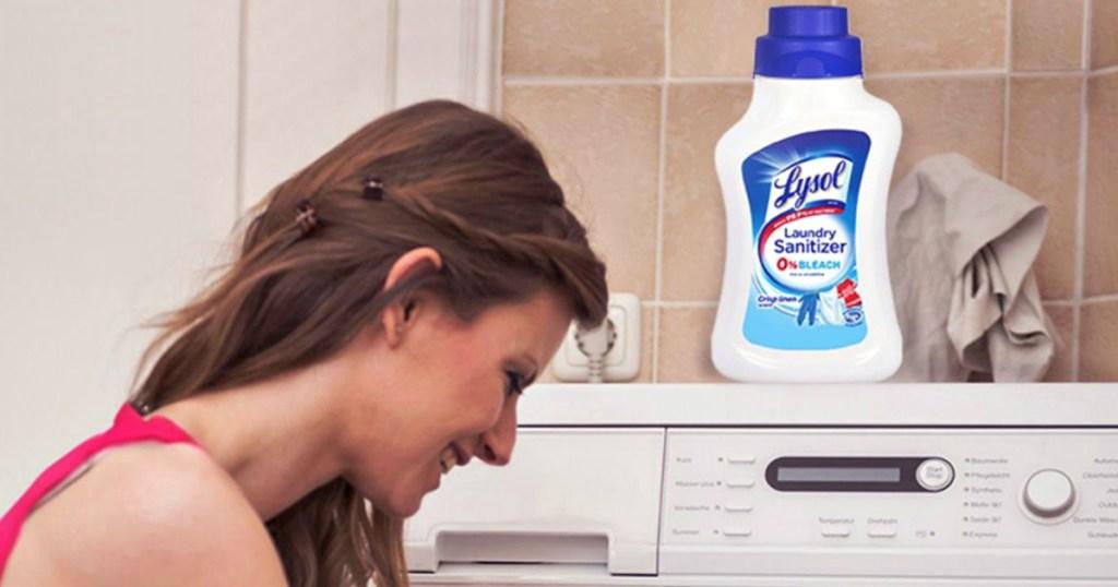 woman using lyson laundry sanitizer