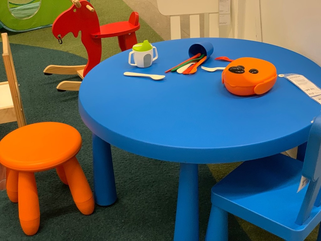 blue table with orange stool