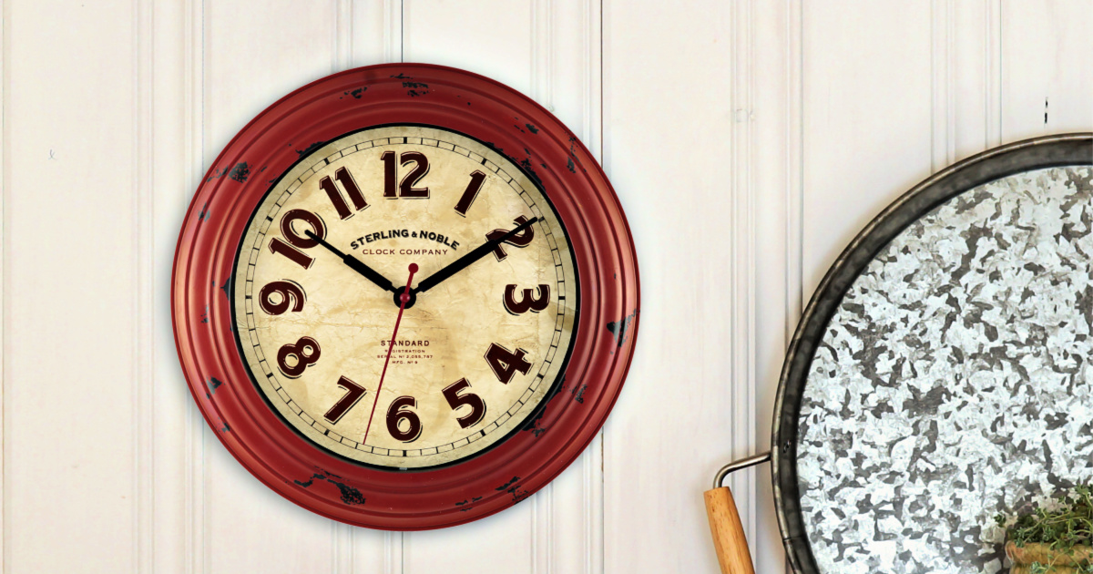 Mainstays 11.5-Inch Red Wall Clock