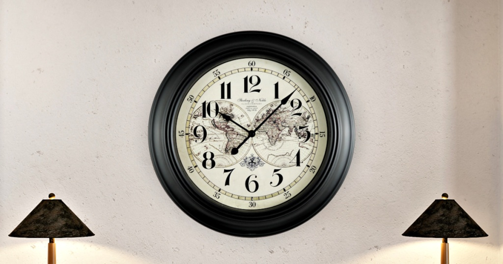 Mainstays 15.5-Inch Map Wall Clock