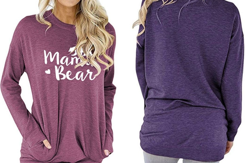 Long sleeve tee from amazon with Mama Bear printed on the front - front and back view