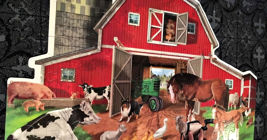 Melissa & Doug Busy Barnyard-Shaped Floor Puzzle
