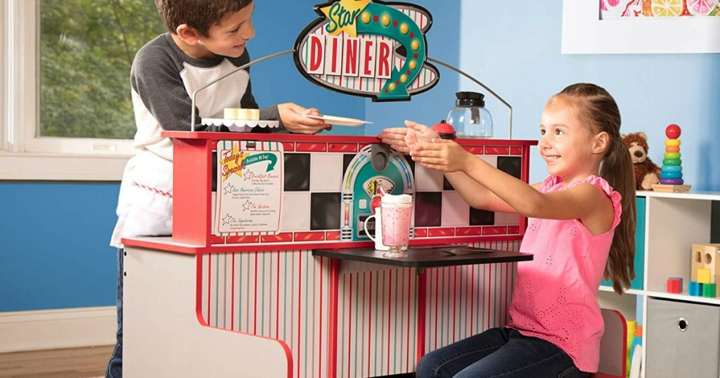 kids playing with Melissa & Doug Star Diner