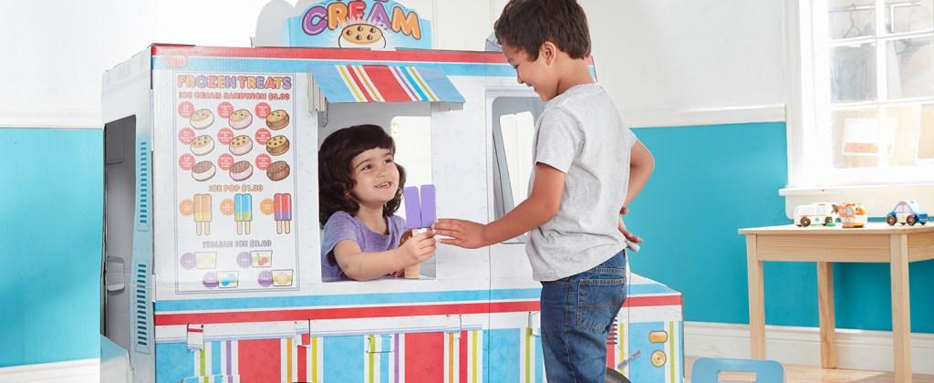 Kids playing at Melissa & Doug food truck