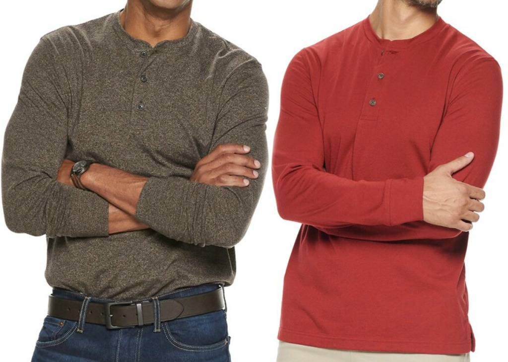 Classic-Fit Henley in two colors - brown and red
