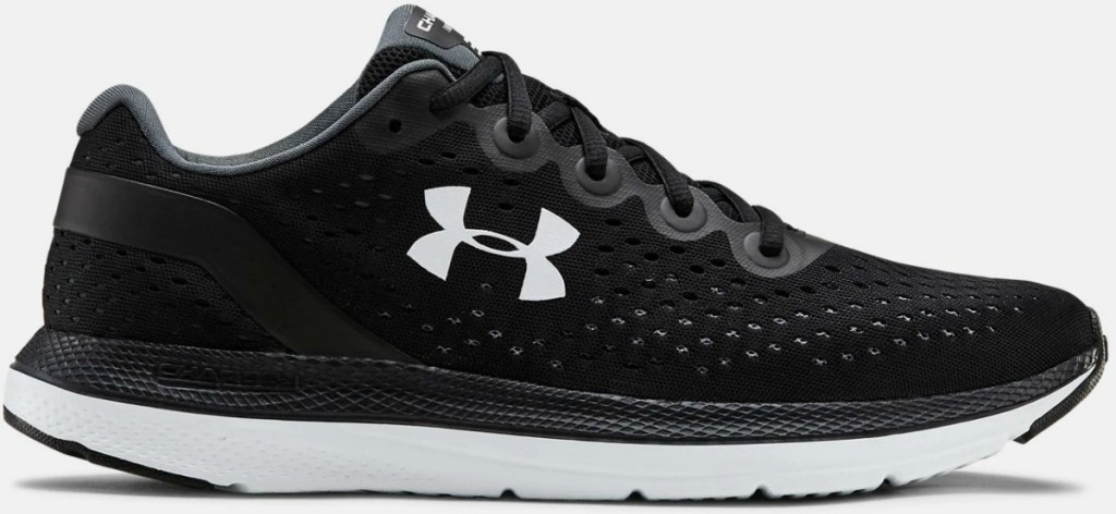 a Men's Under Armour Running shoe in black and white