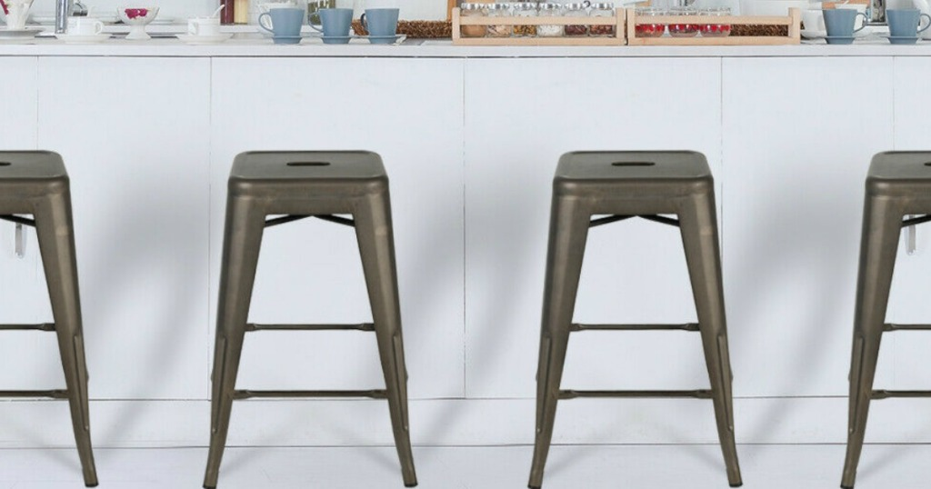 metal stools by counter