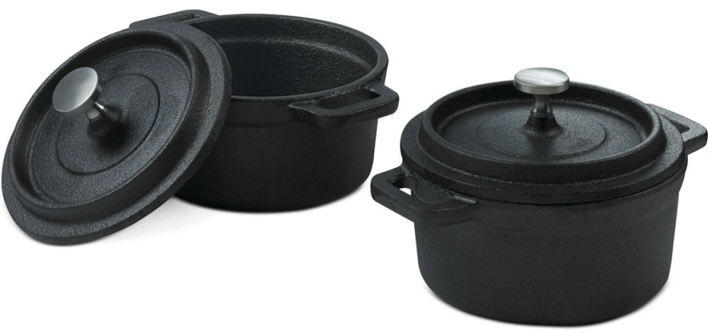 Two mini dutch ovens in black with coordinating lids