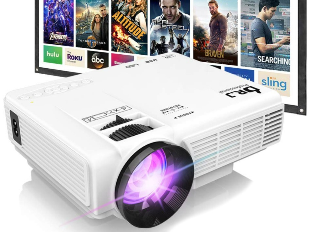 White mini portable movie projector with screen