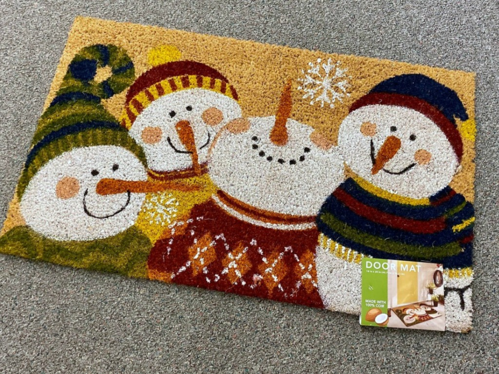 Mohawk Snowman-themed doormat at Kohl's