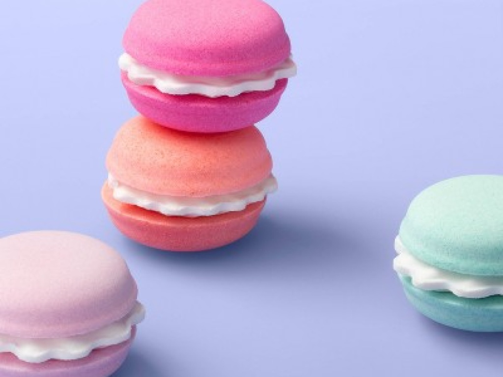 More Than Magic Macaron Bath Bomb Set 4 Count on periwinkle background