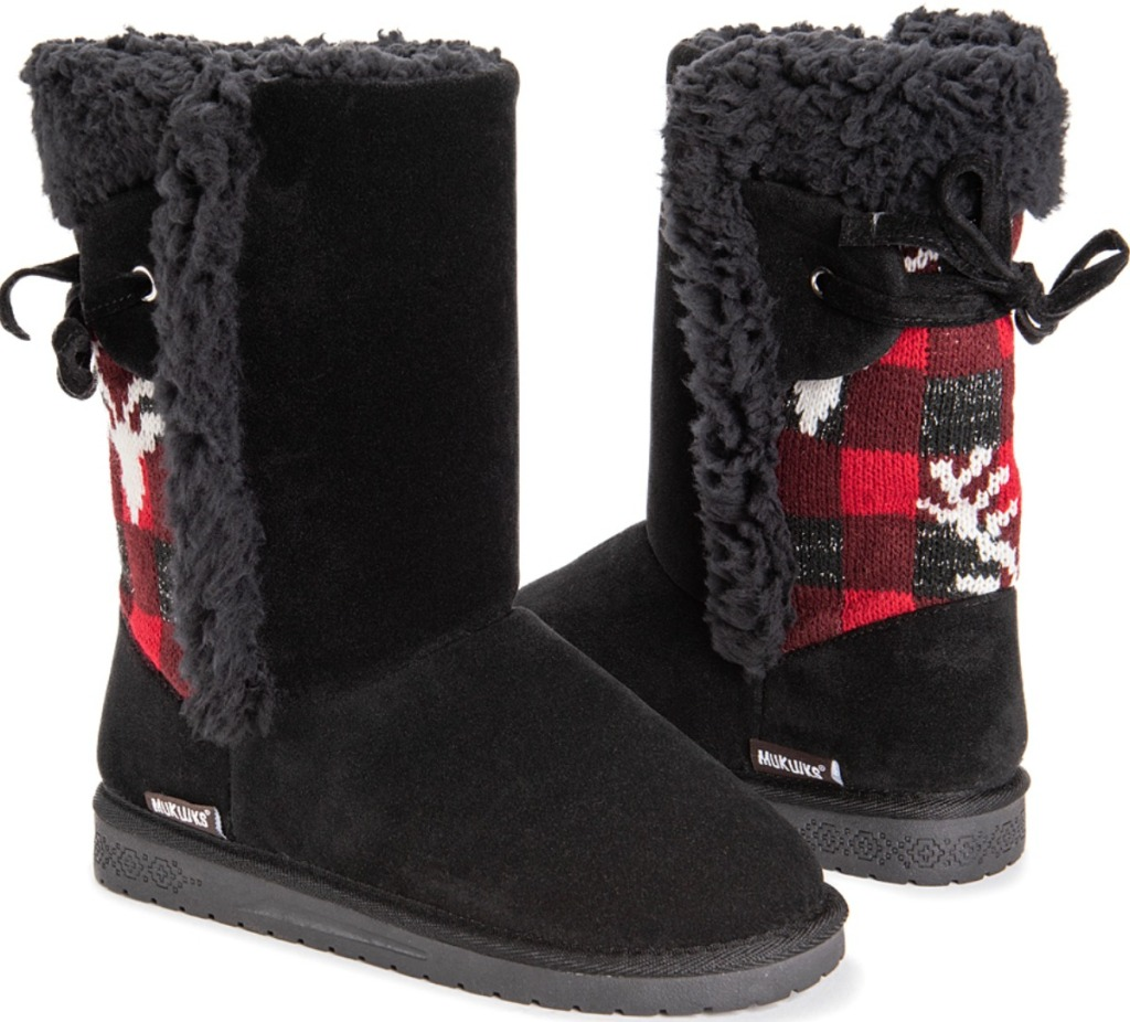 Muk Luks Cozy Boots in black and red print