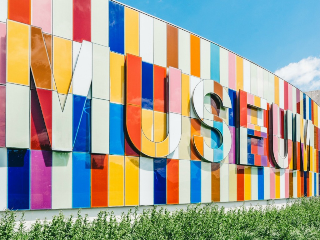 Colorful building with museum signage