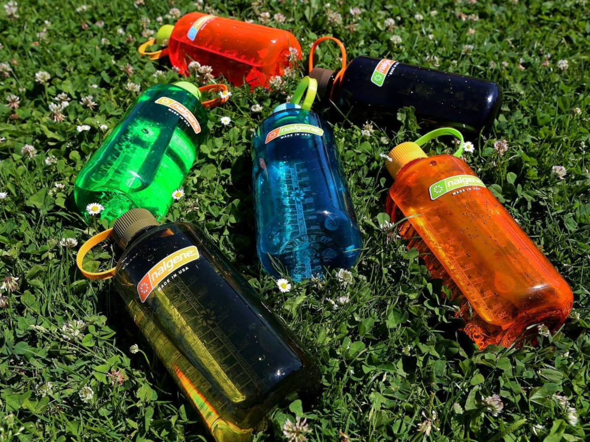 Nalgene Water Bottles laid out on the grass