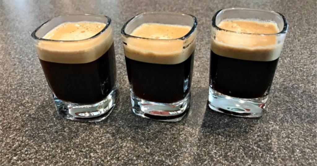 three glasses of espresso