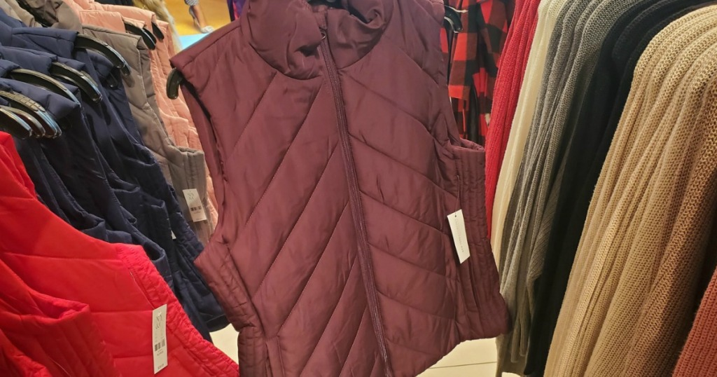 New York & Company Puffer Vest in store on a hanger