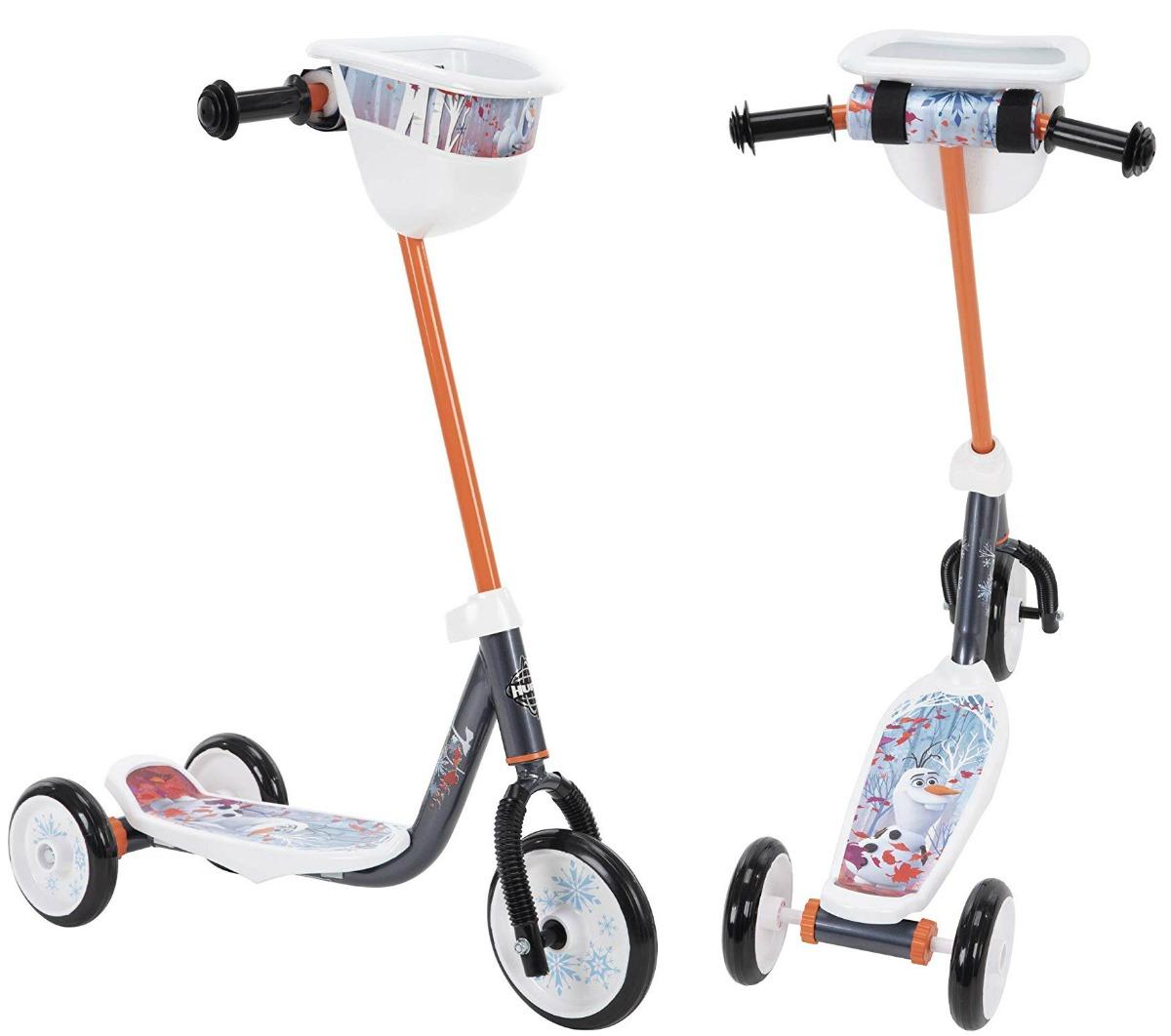 Disney Frozen-themed kids 3-wheel scooter stock image