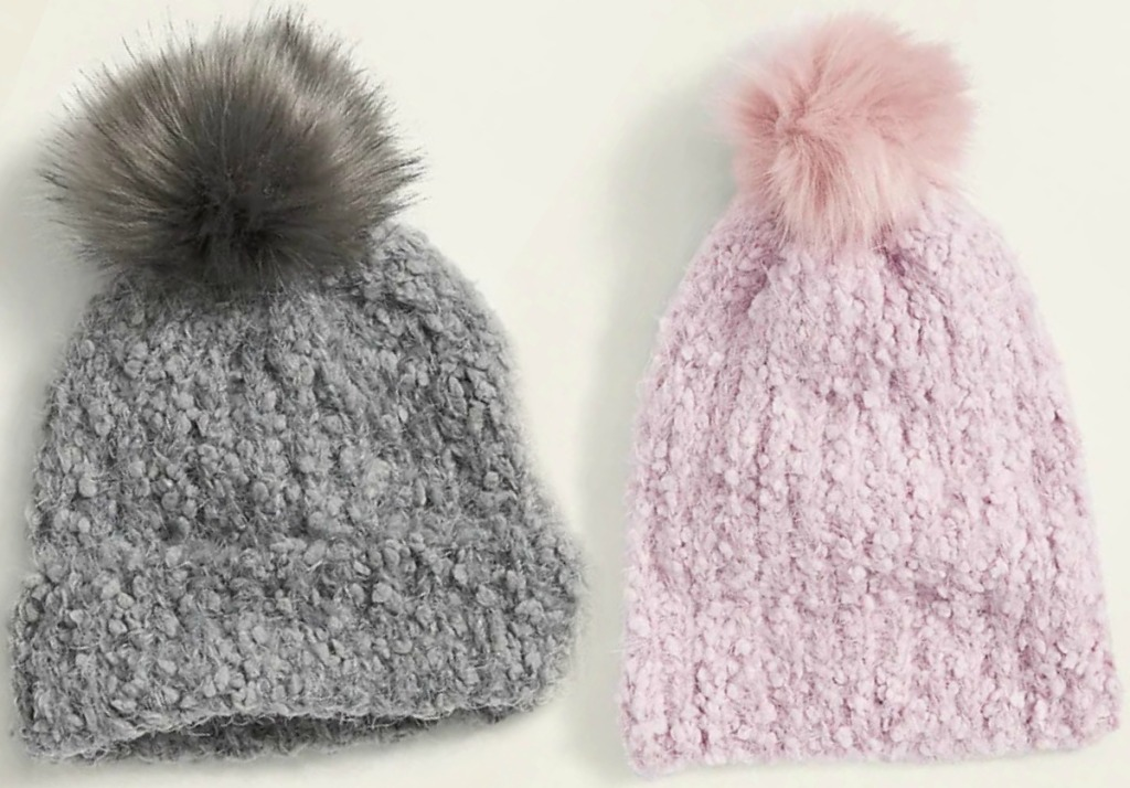 Two styles of women's beanies