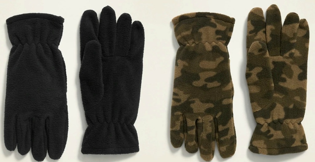 Two pairs of Old Navy boys gloves in black and camo print