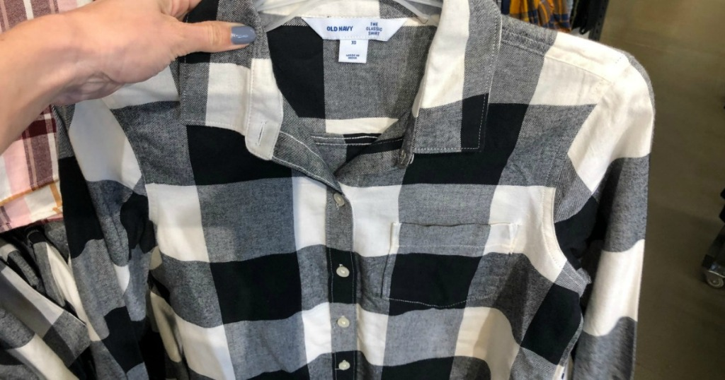 Old Navy Flannel Shirt in black and white