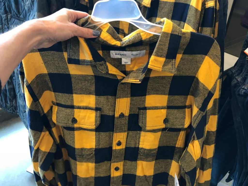 Old Navy Men's Flannel Shirt in Yellow and Black