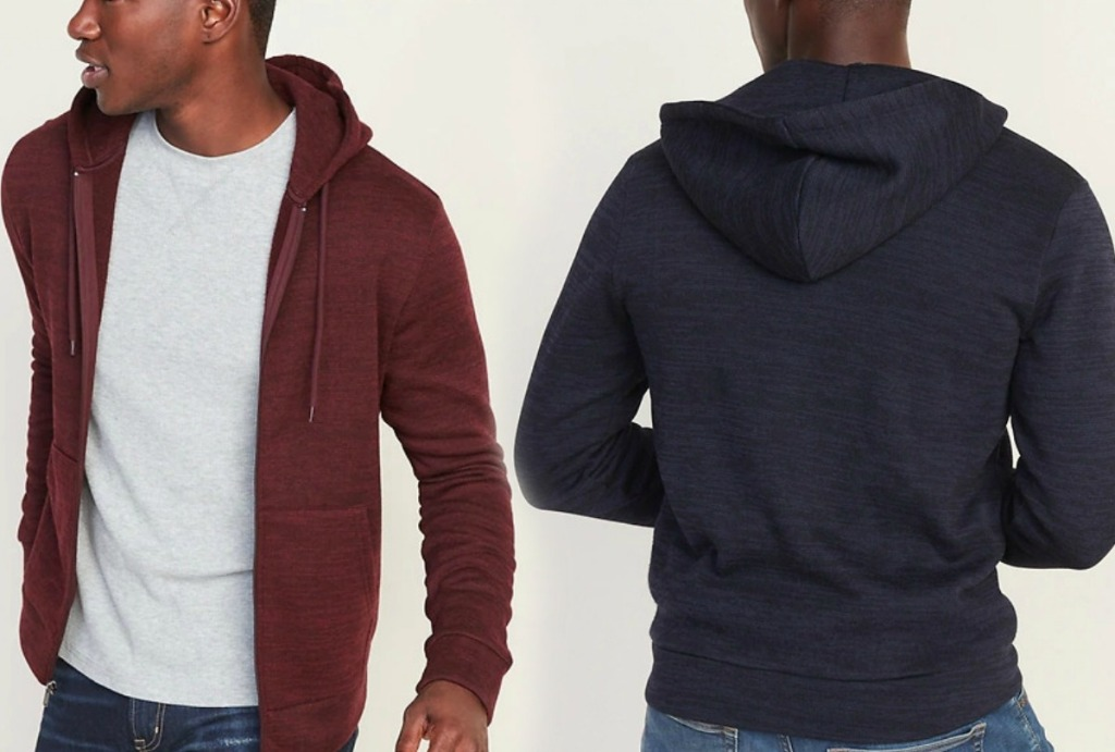 Man wearing a fleece hoodie - front and back view