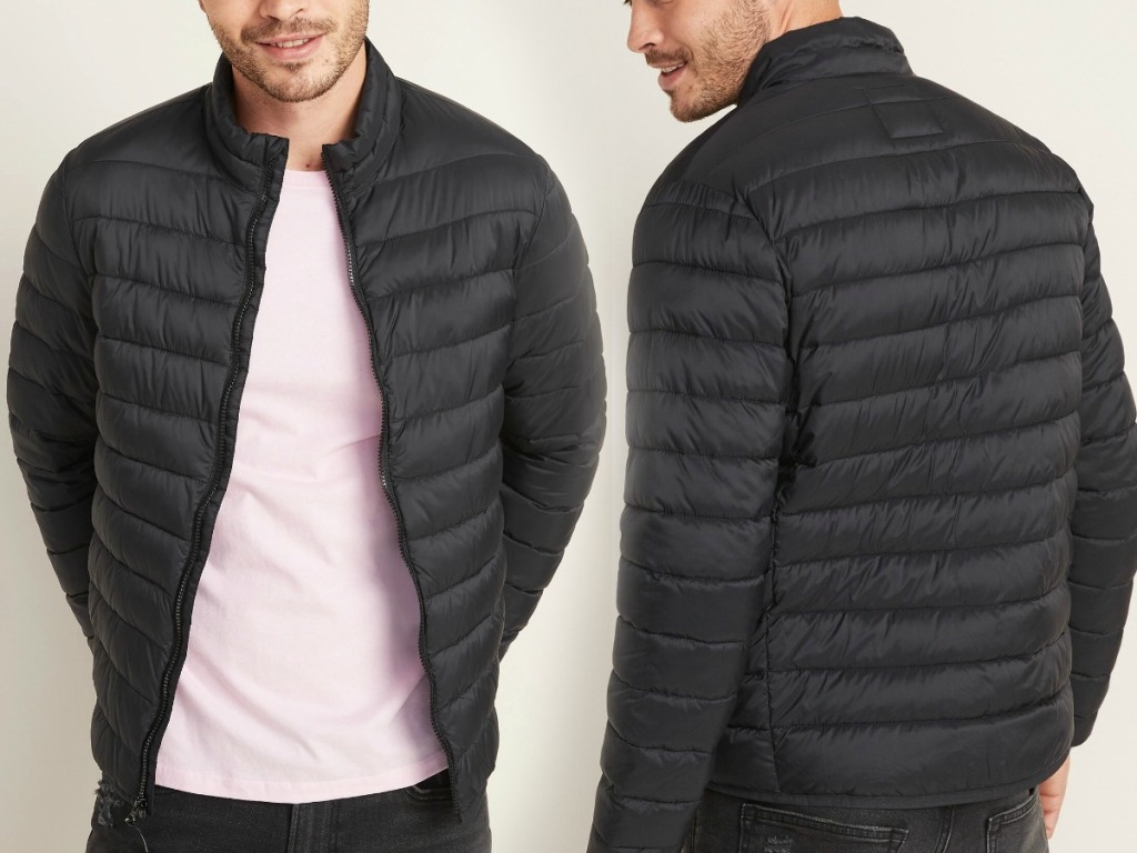 Man wearing an Old Navy puffer jacket in black - front and back view