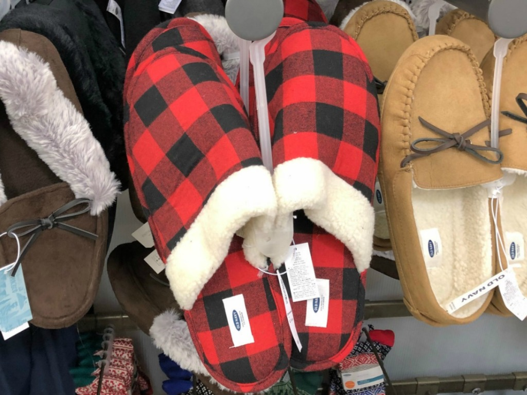 Old Navy Men's Slippers in red plaid on hanger in-store