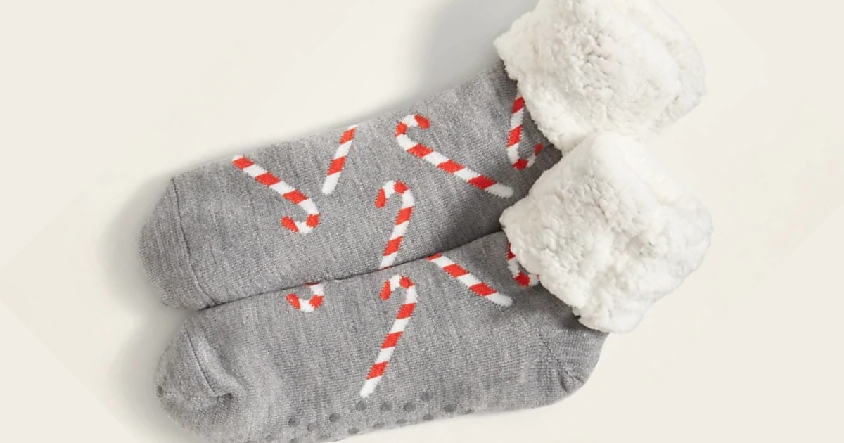 women's sherpa socks with candy canes on them