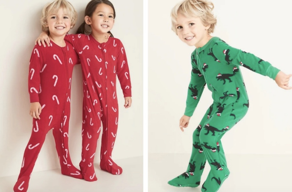 Boy & girl dressed in Old Navy Todder Pajamas