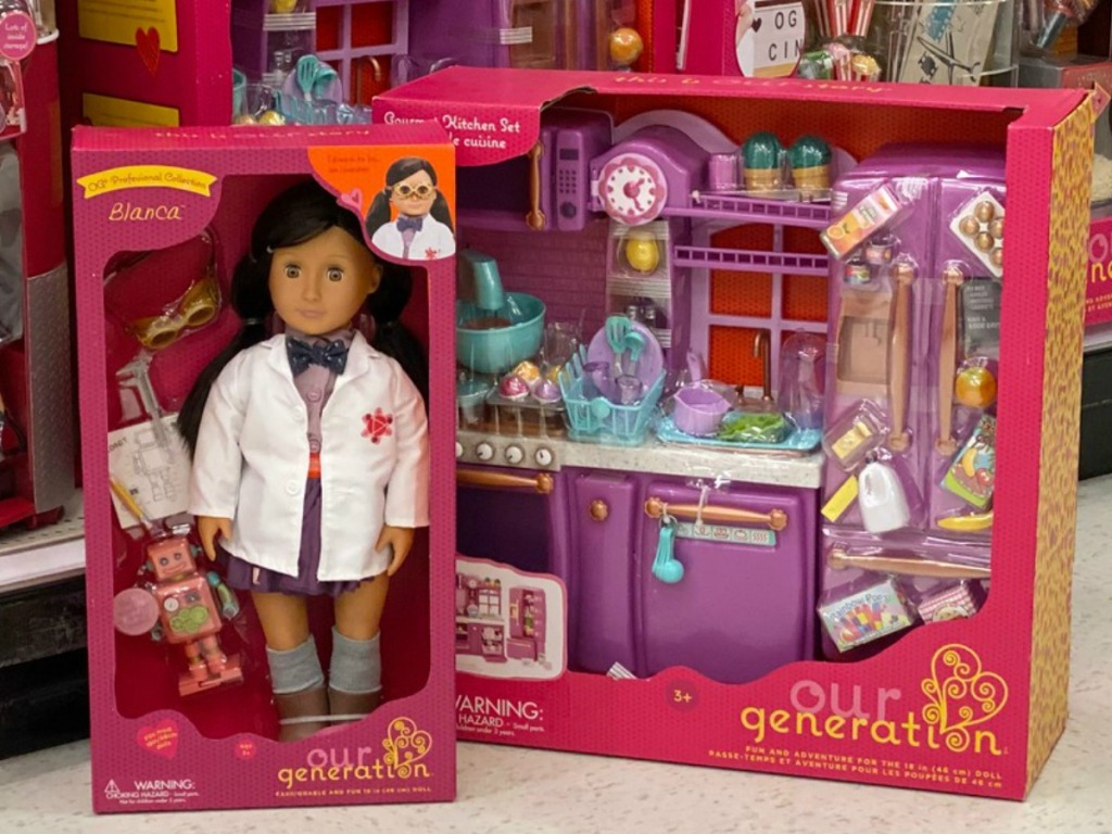 Our Generation Doll with playset on store floor