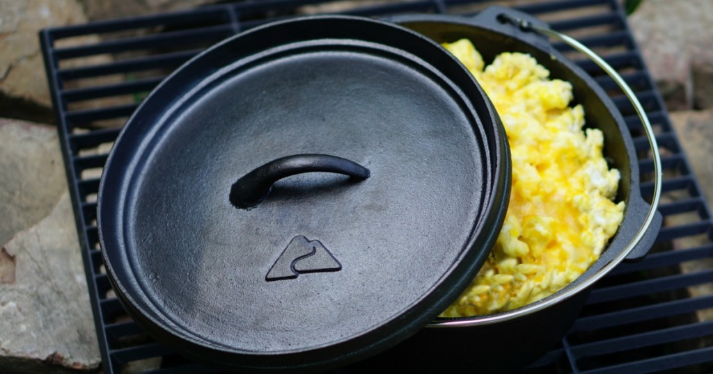 Ozark Trail Dutch Oven on grill with scrambled eggs inside